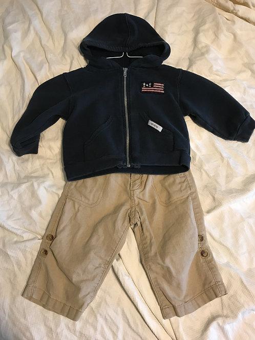 GAP 2pc blue hooded zip SwShirt w/ khakis