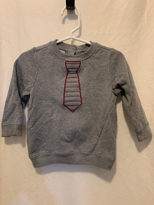 cat & jack gray tie sweatshirt 18mo
