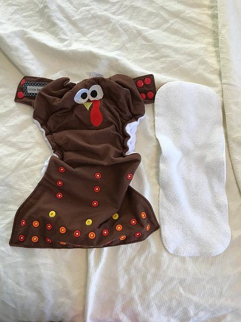 Little beasties cloth w/ Insert- brown turkey