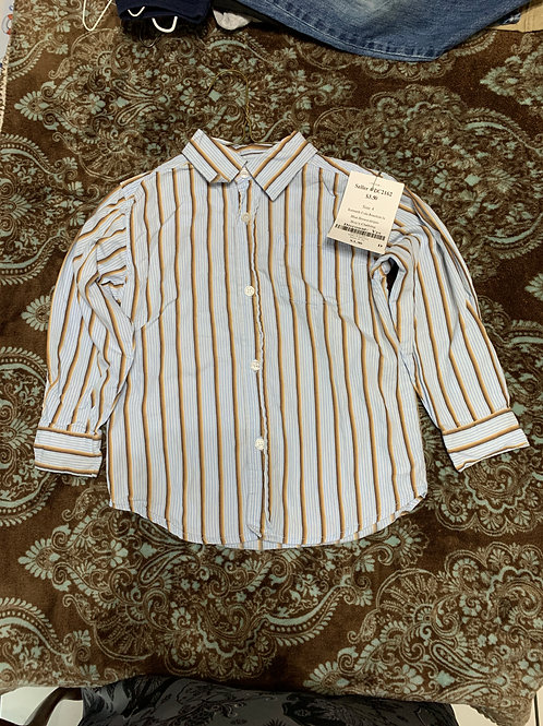 Kenneth Cole Reaction ls Blue Brown stripes