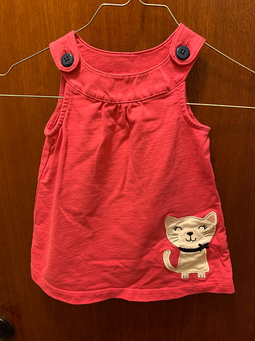 Carters pink jumper 9m white kitty black button
