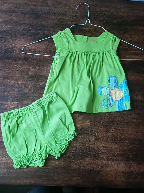 Carters 9M Green Tank w/bloomers