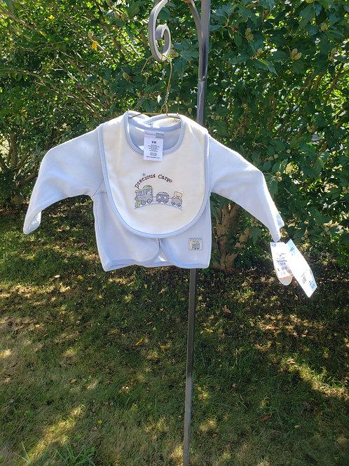 New w/TagVitamins Baby Blue snap shirt/ bib