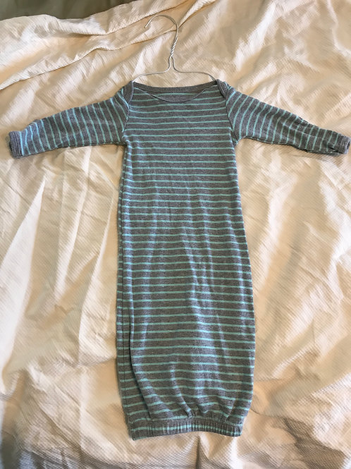 Carters sleep gown LS Grey and teal stripe