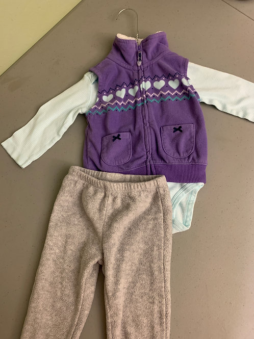 Carters 3pc purple vest Gray fleece pants