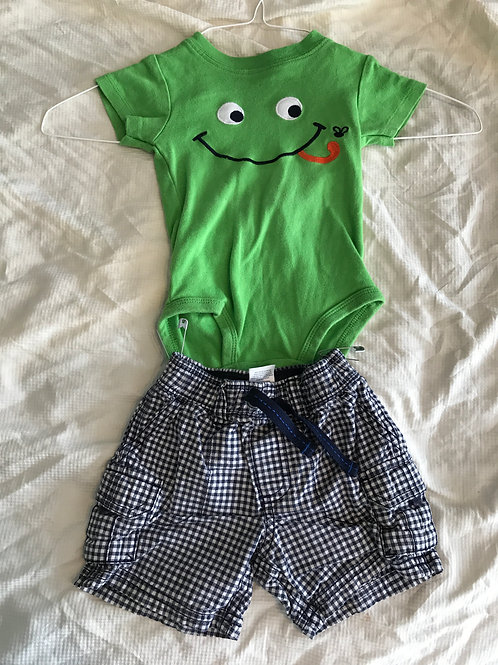 Carters 2pc SS/shorts Frog top blue plaid shorts