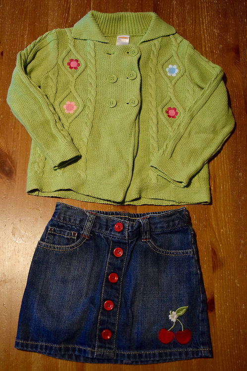 Gymbo 2pc sweater skirt Green flowers cherry jean