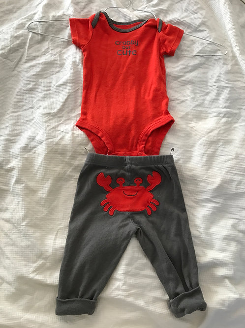 Carters 2pc SS/pants Red/grey crabby but cute