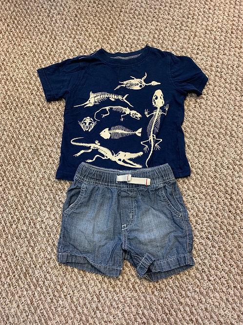 Carters 2T Boys shorts/dino tee