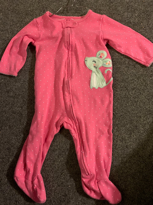 Carters zip up pjs mouse pink & white polkadot