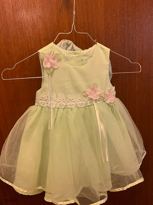 Rare Edition green dress pink flowers lace tulle