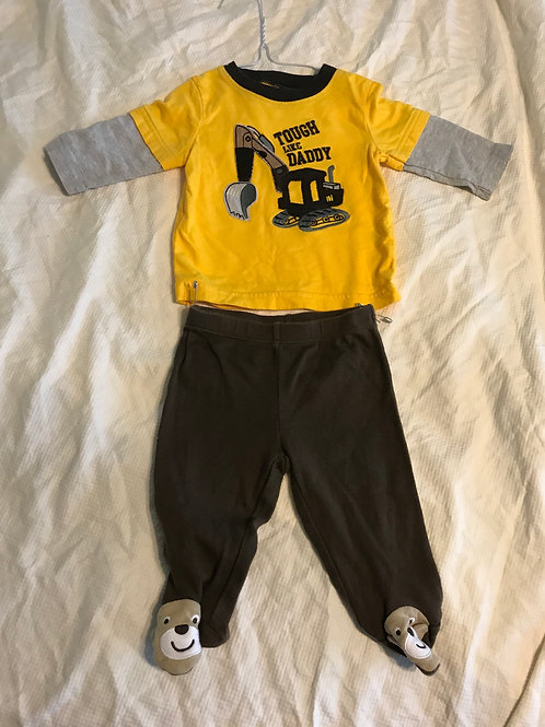 Carters 3m 2pc LS yellow Tough like daddy
