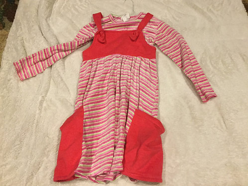 Corky Pink Jumper Dress Lime Pink Stripe Shirt