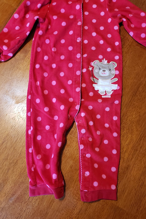 Carters fleece button up red bear princess