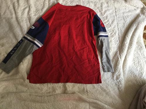 Gap Red LS Shirt Gray Blue Sleeves