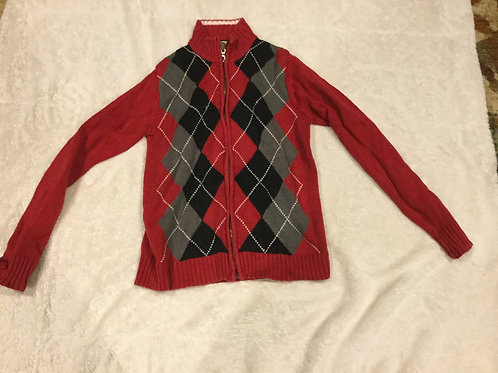 Childrens Place Red Argyle Zip Up Sweater