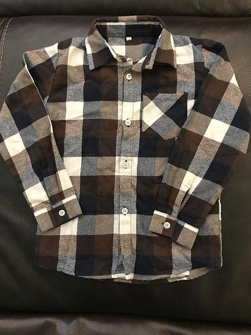 Plaid flannel button down Brown, navy white