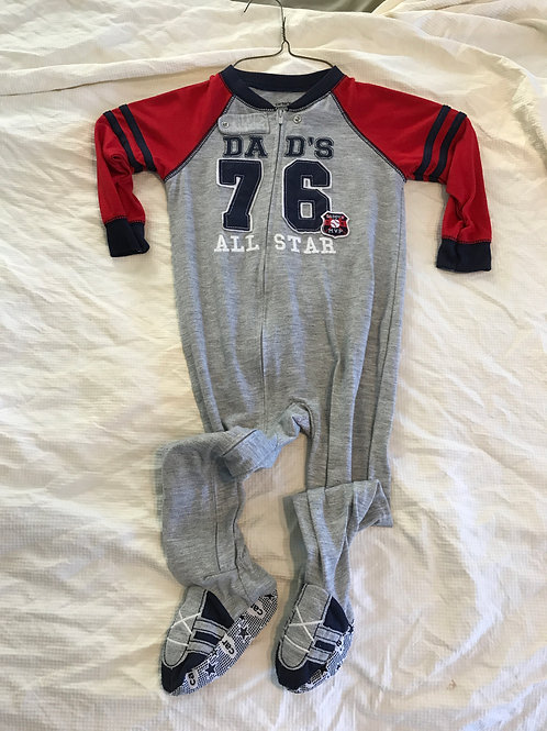 Carters LS pjs grey/red Dads all star