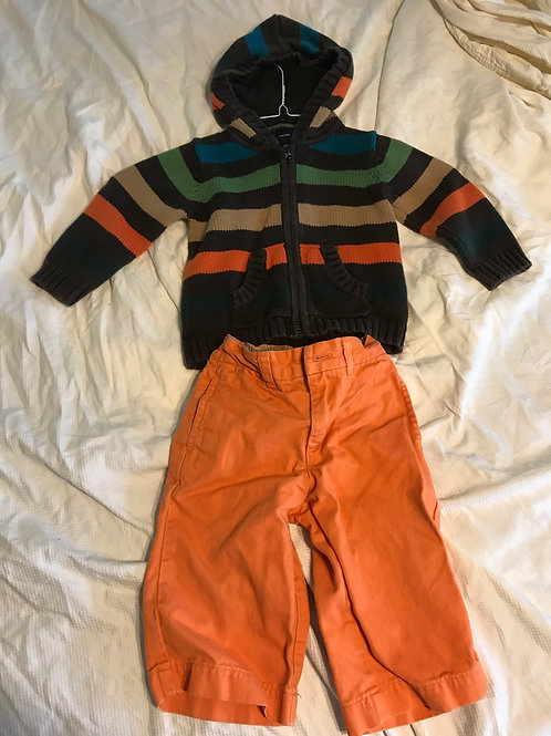 GAP 2pc hooded sweater Brown/color- orange pants