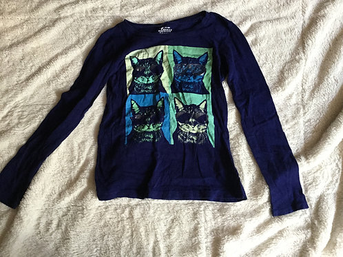 Old Navy Blue LS Shirt 4 Cats in Sunglasses