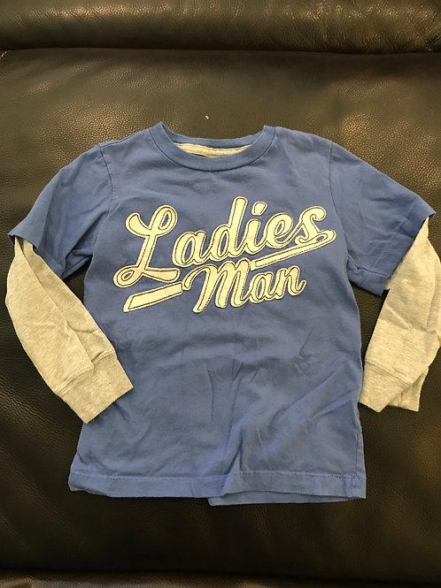 Carters Ladies Man tee Blue grey long sleeve