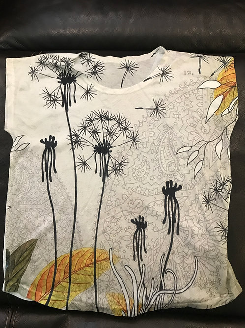 Loose fit ivory tee with Wildflowers yellow green
