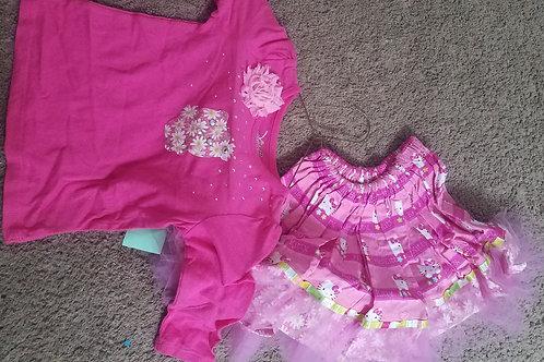 jbeans hndmade pnk ls flw hello kitty skirt 2pc