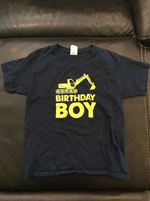 Birthday boy navy tee Backhoe yellow