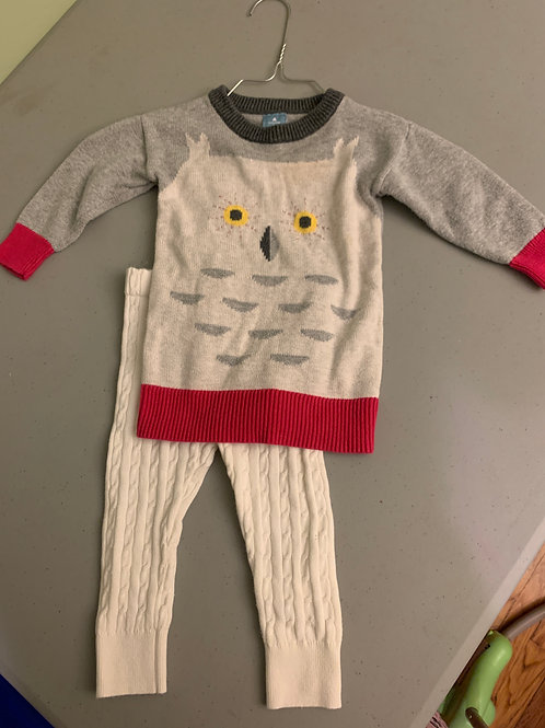 Baby Gap owl outfit Sweater & ribbed leggings