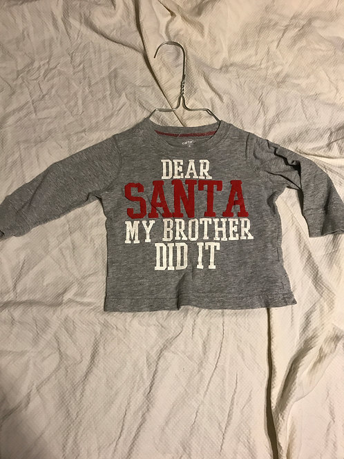 Carters LS T-shirt grey Dear Santa my brother