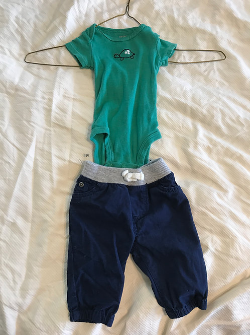 Carters 2pc SS outfit Green/blue turtle