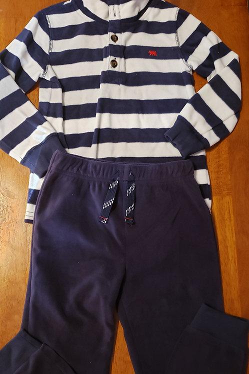 Carters fleece set blue/white striped