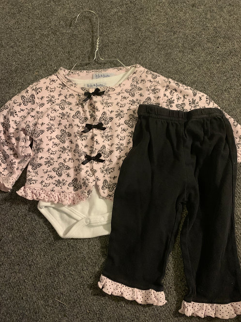 Kyle & deena 3pc pink Outfit butterflies & bows
