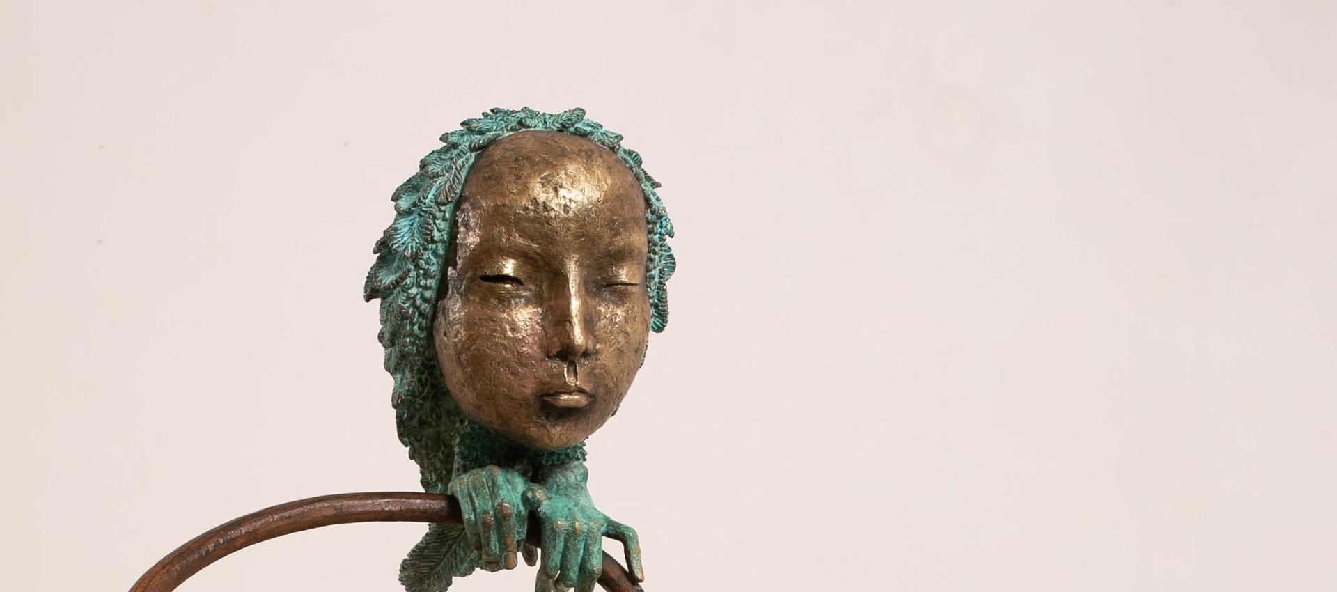 Alina Bachurina. Gnossienne V, 2020, bronze, stone, Viennese chair, 115х40 cm