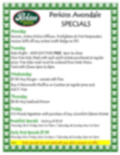 Specials Weekly Avondale 4.15.20 poster.