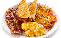 Scrambled Egg, Hash Browns and Toast