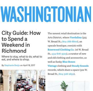Blue Bones featured in Washingtonian.