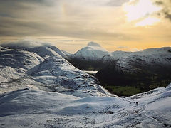 The Cairngorms in Scotland in the winter snow