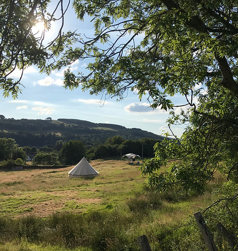 A bell tent pitched in a wild flower meadow overlooking the nith valley, part of the open gate campsites wild camping experiance, Dumfries and Galloway