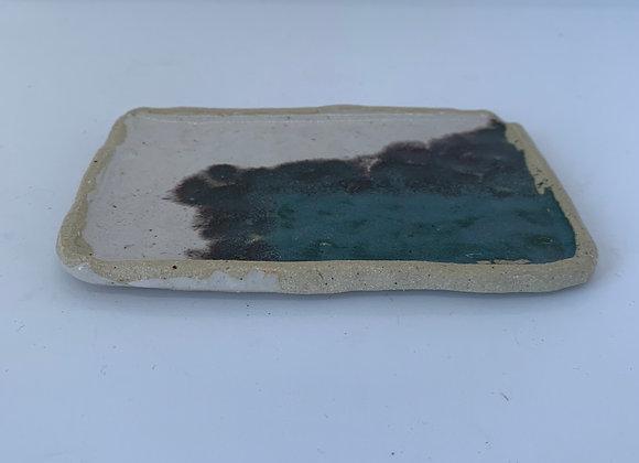 手感碧璽綠方盤  Tactile tourmaline square plate