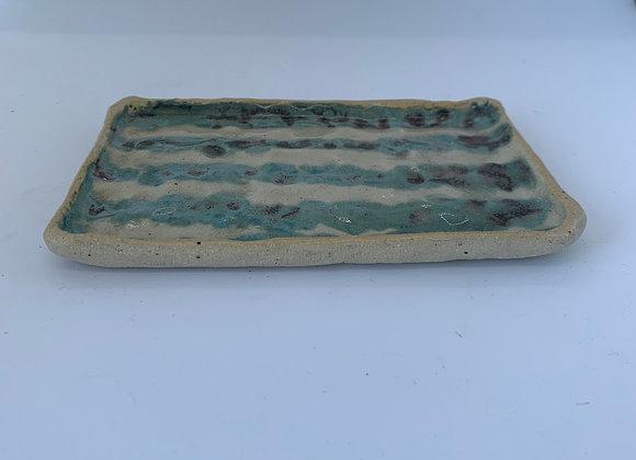 手感碧璽綠條紋方盤  Tactile tourmaline stripe plate