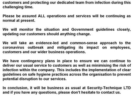COVID-19 STATEMENT FROM SECURITY-TECHNIQUE LTD
