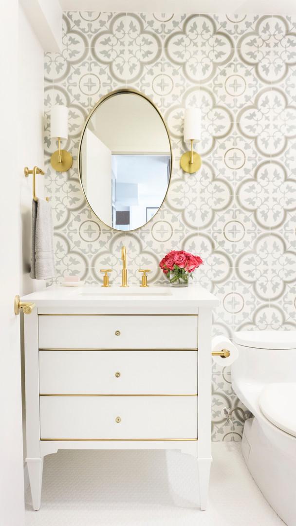 Cement Tile White Vanity Bathroom