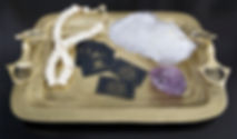 Interior Designer business card on brass tray