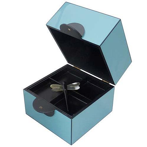 Boîte à bijoux en laque bleu clair