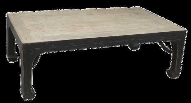 Table ancienne en orme décapé et noir mat