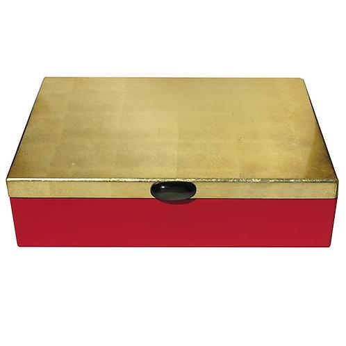 Grande boite rectangulaire laquée rouge et or