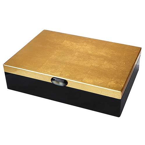 Grande boite laque noire et or