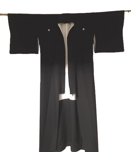 Kimono en soie noir