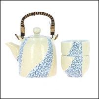 Ensemble theière et 2 tasses en porcelaine